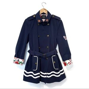 Desigual Morgane Sailor Striped Trench Coat navy